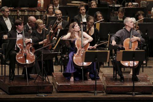 Cellists Daniel Müller-Schott, Alisa Weilerstein and Carter Brey in Penderecki's Concerto Grosso (Photo: Jennifer Taylor)
