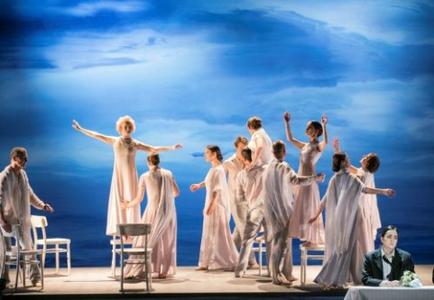 Euridice (Kerstin Avemo, second from left) with dancers in Elysium. Orfeo (Katarina Karnéus) is bottom right, not yet aware that Euridice is on her way. Photo: Mats Bäcker