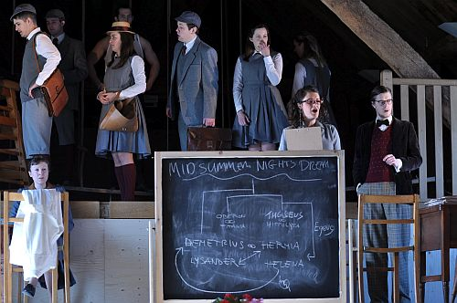 chool is not all it seems to be - Eloise Irving (Secretary) and John Lattimore (MathsTeacher) from right (photo Bury Court Opera)