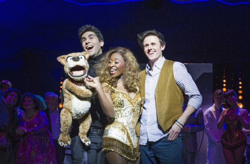 L-R Simon Lipkin (Barlow), Cynthia Erivo (Chenice) and Alan Morrissey (Max) in I Can't Sing! at the London Palldium Photographe (1)-500
