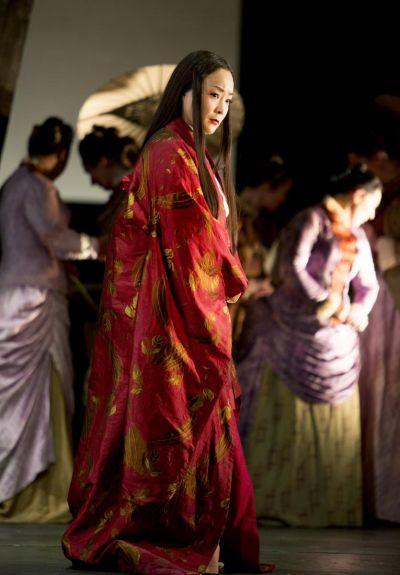 Hye-Youn Lee as Cio-Cio San, Madama Butterfly, Scottish Opera, 2014. Credit KK Dundas.