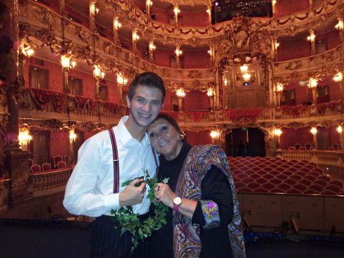 Brigitte Fassbaender & Bogdan Mihai for her production of Donizetti's Don Pasquale, Cuvilliés Theatre, Munich