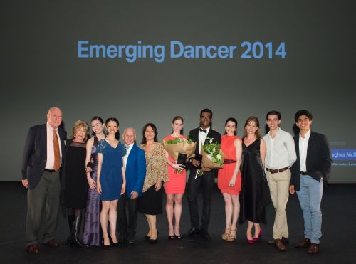 L-R) Clement Crisp OBE, Dame Gillian Lynne DBE, Madison Keesler, Senri Kou, Wayne Sleep OBE, Arlene Phillips CBE, Alison McWhinney, Junor Souza, Tamara Rojo, Deborah Bull CBE, Vitor Menezes & Joan Sebastian Zamora at English National Ballet's Emerging Dancer 2014, at The Lyceum Theatre, London on May 19, 2014. Photo: Arnaud Stephenson