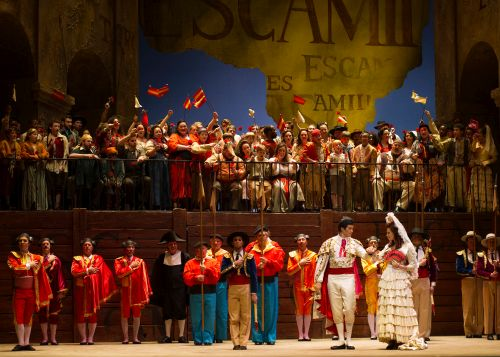 "Finale of Cincinnati Opera's ""Carmen"" (Photo: Cincinnati Opera/Philip Groshong)"
