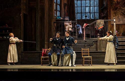 ARTISTS SUMMER PERFORMANCE; Royal Opera House; Covent Garden; London, UK; 18 July 2014; COSI FAN TUTTE by Mozart; From left: Fiordiligi - KIANDRA HOWARTH; Guglielmo - MICHEL DE SOUZA; Ferrando - DAVID BUTT PHILIP; Dorabella - RACHEL KELLY; Director - GREG ELDRIDGE; Conductor - MICHELE GAMBA; Photo credit: © CLIVE