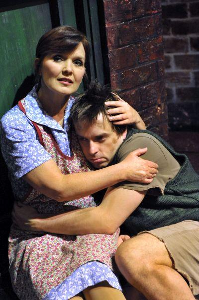 "Maureen Nolan as Mrs Johnstone   Sean Jones as Mickey - ""Blood Brothers"" Photo (c) Birmingham Hippodrome"