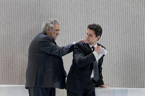 Saimir with Placido Domingo at the Met during the Traviatas in March 2013.  It was Placido's role debut as Germont - pic Credit: Ken Howard, Metropolitan Operau in Barcelona, March 2012, pic credit Irina Stanescu.