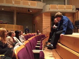 Adam Golka and Joshua Weilerstein chat with students at Vancouver's Chan Centre (Photo: Tony Wan)