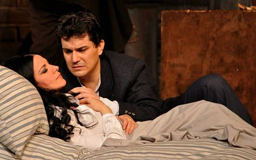 Saimir with Angela Gheorghiu in a production at the Liceu in Barcelona, March 2012, pic credit Irina Stanescu.