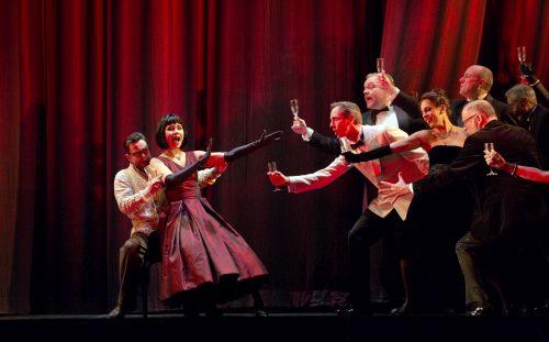 Photo Ben Johnson (Alfredo) and Elizabeth Zharoff (Violetta) in La traviata Photo credit Donald Cooper