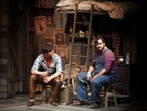 Ashley Day as Curly and Nic Greenshields as Jud Fry in the National tour of Oklahoma! © Pamela Raith