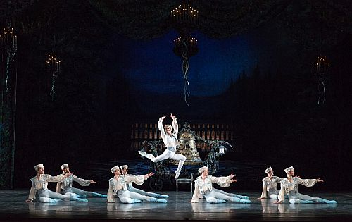 Coppelia -Mathias Dingman as Leading Combat Man with Artists if Birmingham Royal Ballet photo Andrew Ross
