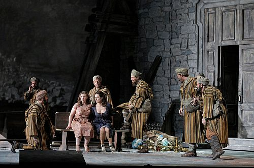 Act II, Scene II  Sarah Shafer as Rosetta and Anna Caterina Antonacci as Cesira with Moroccan soldiers. ©Cory Weaver/San Francisco Opera