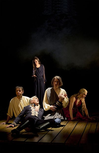 Left to right: Christer Nerfont (Shepherd), Jan Kyhle (Orfeo), AnnLouice Lögdlund (Silvia), Ole Bang (Shepherd), Cecilie Nerfont Thorgersen (Nymph). Photo: Mats Bäcker.