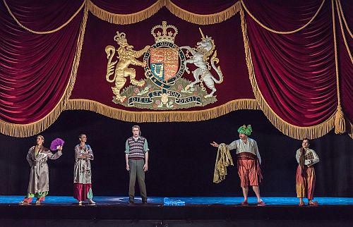 JETTE PARKER YOUNG ARTISTS; Betrothal and Betrayal; Royal Opera House; Covent Garden; London,UK; 17 July 2015; Adriana Lecouvreur, excerpts from Act 1: Left to right: LAUREN FAGAN as Mlle Jouvenot; RACHEL KEL;LY  as Mlle Dangeville; YURIY YURCHUK as Michonnet; JAMES PLATT as Quinault;; LUIS GOMES as Poisson; Photo: © ROH Photographer: CLIVE BARDA