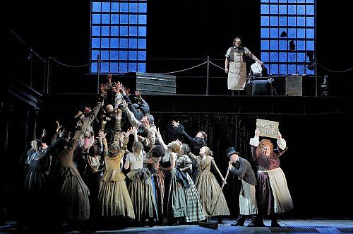 Act II Opening with the San Francisco Opera Chorus, mezzo-soprano Stephanie Blythe as Mrs. Lovett and bass-baritone Brian Mulligan as Sweeney Todd. ©Cory Weaver/San Francisco Opera