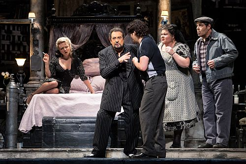 "Placido Domingo (center) in the title role of ""Gianni Schicchi,"" with Peabody Southwell (left) as La Ciesca, and (at right) Arturo Chacon-Cruz as Rinuccio, Meredith Arwady as Zita and Philip Cokorinos as Betto di Signa. (Photo: Craig T. Mathew / LA Opera)"