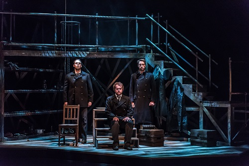 The Lighthouse by Peter Maxwell Davies; Jette Parker Young Artists; Linbury Studio Theatre; Royal Opera House; Covent Garden; London, UK; 21 October 2015; Left to right: Sandy, First Officer - Samuel Sakker; Arthur, Third Officer - David Shipley; Blazes, Second Officer - Yuriy Yurchuk; Keyboard Colin J. Scott; Conductor - Jonathan Santagada; Director - Greg Eldridge; Designer - Alyson Cummins; Lighting designer - Warren Letton; Photo: © ROH Photographer: CLIVE BARDA