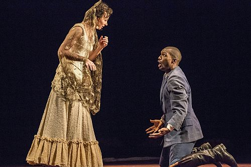 Justina Gringyte as Carmen and Noah Stewart as Don José in Carmen. Scottish Opera 2015. Credit James Glossop