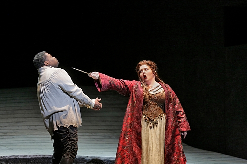 """Russell Thomas as Pollione and Angela Meade in the title role of LA Opera's 2015 production of """"Norma."""" (Photo: Ken Howard)"""
