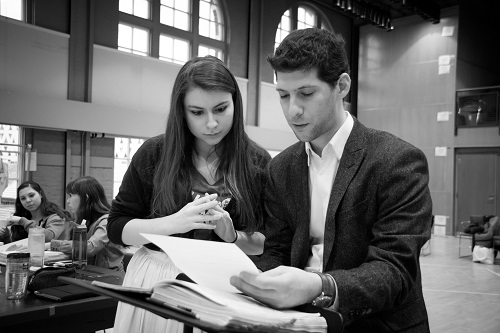 "Stage director Frances Rabalais and music director Avishai Shalom at work on ""Il Signor Bruschino"" (Photo: Adam Zeek)"
