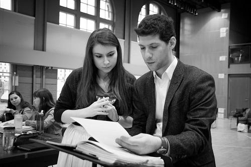 "Stage director Frances Rabalais and music director Avishai Shalom at work on ""Il Signor Bruschino"" (Photo: Adam Zeek)"