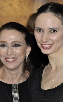 Ballerinas Maya Plisetskaya and Luidmila Konovalova at the legendary Russian ballet icon's 85th birthday gala where Konovalova performed her signature Black Swan pas de deux.