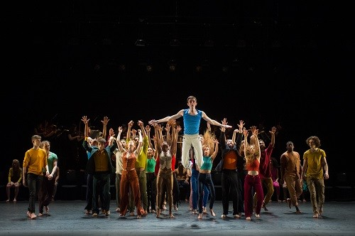 "London, UK. 07.04.2016. National Youth Dance Company presents the premiere of ""In-Nocentes"" at Sadler's Wells. Choreographed by Michael Keegan-Dolan, Artistic Director for NYDC for 2015 - 2016, with lighting design by Peter Harrison, set and costume design by Laura Hopkins. NYDC is touring the work from 26 June – 23 July 2016. The dancers are: Monique Ademilola, Jasmine Bayes, Tomas Brennan, Jamie Buchanan, Arthur Clayton, Isis Clunie, Olivia Doyle, Lucia Fortune-Ely, Christian Griffin, Bar Groisman, Rachael Harrison, Alex Henderson, Amie Hibbert, Christopher Hicks, Tommy Hodgkins, Noga Inspector, Taitlyn Jaiyeola, Kaylee Jaiyeola, Ethan Joseph, Niamh Keeling, Rose Lewis, Blue Makwana, Dominic McAinsh, Iona McGuire, Kennedy Muntanga, Daniel Nattrass, Jessica Nixon, Jasmine Norton, Ethan Nott, Chris Pilbeam, David Prempeh, Jackson Shallcross-Platt, Kia Skilbeck, Ben Todd-Jones, Tre Usoro-Williams, Chad Wakefield, Molly Walker, John-William Watson, George Williams, Hallam Wood. Photograph © Jane Hobson"