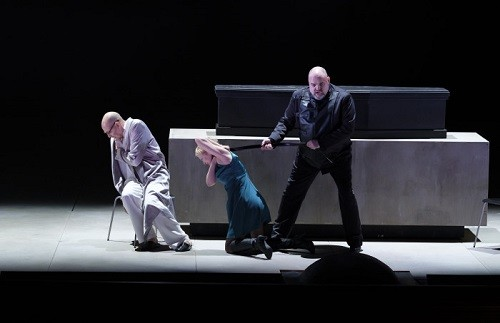 Photo © Micke Sandström Left to right: Anders Lorentzson (Arkel), Kerstin Avemo (Mélisande), Fredrik Zetterström (Golaud)
