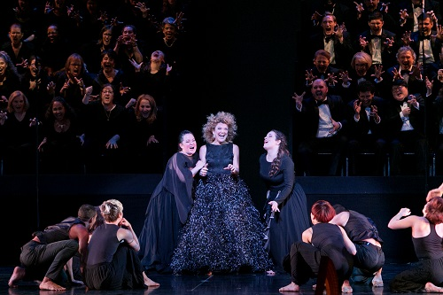 "Victoria Clark flanked by Anna Christy, left, and Sarah Mesko. Master Voices presents ""Dido and Aeneas"", New York City Center, April 28, 2016. Photo credit: Erin Baiano"