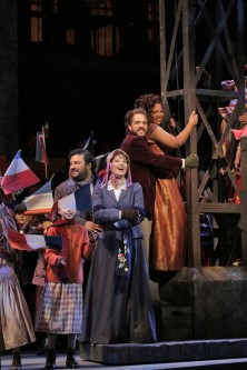 Mario Chang, Nino Machaidze, Giorgio Caoduro, and Janai Brugger in LA Opera's 2016 production of La Bohème (Photo credit: Ken Howard/LA Opera)