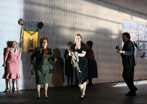 ENO Jenufa: Soraya Mafi, Natalie Herman, Laura Wilde and Peter Hoare (c) Donald Cooper.