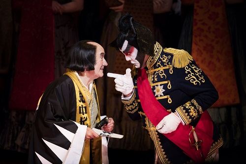 Richard Suart as Ko-Ko and Stephen Richardson as The Mikado. Scottish Opera and D'Oyly Carte 2016. Credit James Glossop (1)
