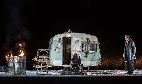 Il Trovatore by Verdi; Royal Opera House; Covent Garden; London, UK; 29 June 2016; Cast A: Lianna Haroutounian as Leonora; Francesco Meli as Manrico; Conuctor - Gianandrea Noseda; Director - David Bösch; Set and video designer - Patrick Bannwart; Costume designer - Meentje Nielsen; Lighting designer - Olaf Winter; Photo: © ROH Photographer: CLIVE BARDA