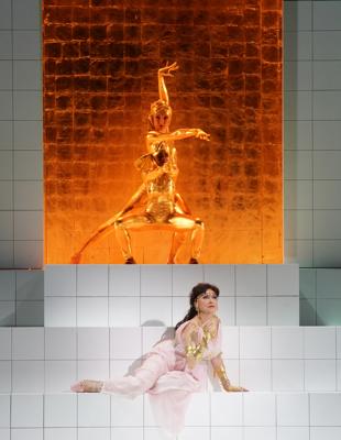 Krassimira Stoyanova as Danae with dancers. Photograph courtest of the Salzburger Festspiele.