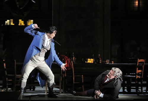 "Yonghoon Lee as Andrea Chénier and George Gagnidze as Carlo Gérard in Act II of Giordano's ""Andrea Chénier"" (Photo credit: Cory Weaver/San Francisco Opera)"