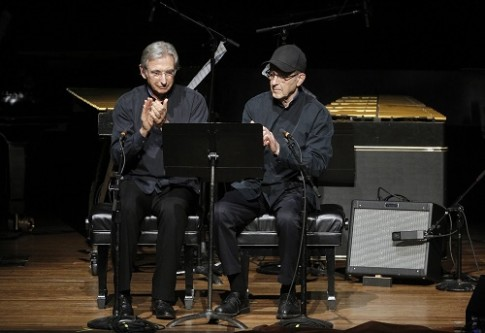Michael Tilson Thomas and Steve Reic perform 'Clapping Music. Photo credit: Cory Weaver.