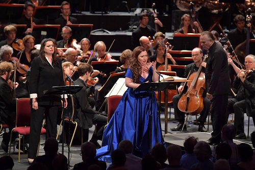 Mezzo-soprano Daniela Barcellona and soprano Albina Shagimuratova perform at the BBC Proms 2016. Photo credit: BBC/Chris Christodoulou.
