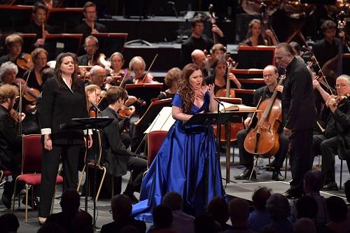 Mezzo-soprano Daniela Barcellona and soprano Albina Shagimuratova perform at the BBC Proms 2016. Photo credit: BBC/Chris Christodoulou.