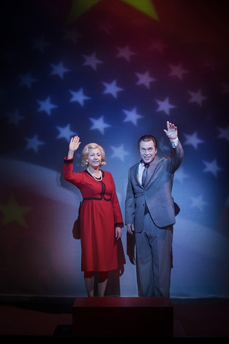 Hanna Husáhr as Pat Nixon and Ola Eliasson as Richard Nixon. Photo © Markus Gårder