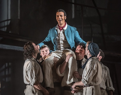 BILLY BUDD by Britten; Opera North; Gand Theatre; Leeds, UK; 15 October 2016; RODERICK WILLIAMS as Billy Budd; GARRY WALKER - Conductor; ORPHA PHELAN - Director; LESLIE TRAVERS - Set & Costume Designer; THOMAS C. HASE - Lighting designer; LYNNE HOCKNEY - Movement director; WILL TRISTRAM - Fight director; Credit: © CLIVE BARDA/ ArenaPAL;