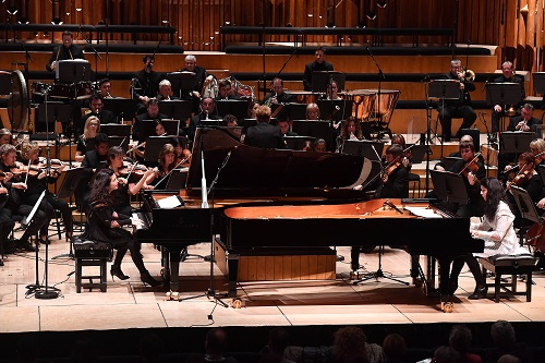 The BBC Symphony Orchestra, conducted by Marin Alsop featuring Katia and Marielle Labeque on pianos in the Barbican Hall on Saturday, 28 January 2017.  Photo by Mark Allan/BBC