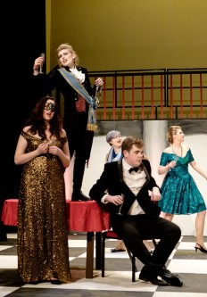 Rosalinda as the 'Hungarian Countess' (Ellie Popham), Prince Orlovsky (Ellie Sterland) and Falke (Cole McLaren-Bailey)