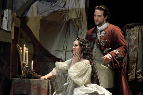 ANGELA GHEORGHIU AS ADRIANA LECOUVREUR, BRIAN JAGDE AS MAURIZIO © ROH. PHOTO BY CATHERINE ASHMORE
