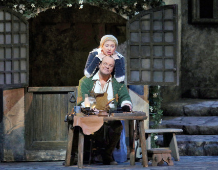 Michael Volle (Hans Sachs) & Annette Dasch (Eva) in Meistersinger 2015, photo courtesy Ken Howard - Metropolitan Opera