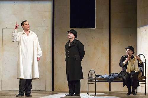 Nicholas Lester, Paul Carey Jones and Daniel Norman in The Trial. Scottish Opera 2017. Credit James Glossop.