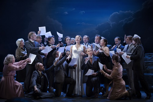 Elin Rombo as Hanna Glawari and the Opera Chorus; photo credit - Markus Gårder.