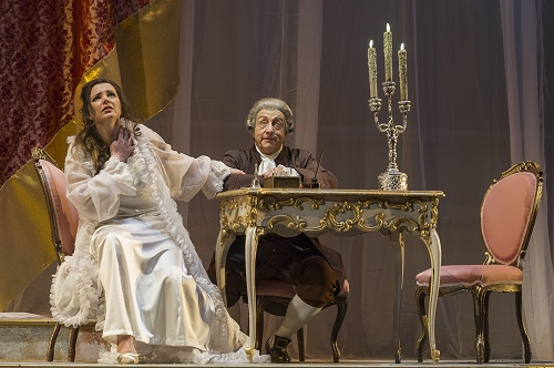 Virginia Tola in the title role and Alessandro Corbelli (Michonnet) in Teatro Colón's new production of Adriana Lecouvreur. (Photo Máximo Parpagnoli)