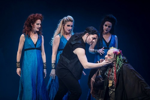 Three Ladies (Mia Karlsson, Carolina Sandgren, Matilda Paulsson), Tamino (Adam Frandsen) and Papageno (Markus Schwartz, kneeling right). Photo: Mats Bäcker