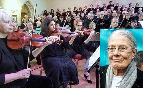 Dartington Community Choir with Vanessa Redgrave (inset); photo credit - Philip R Buttall.